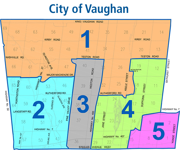 Image of Vaughan ward map