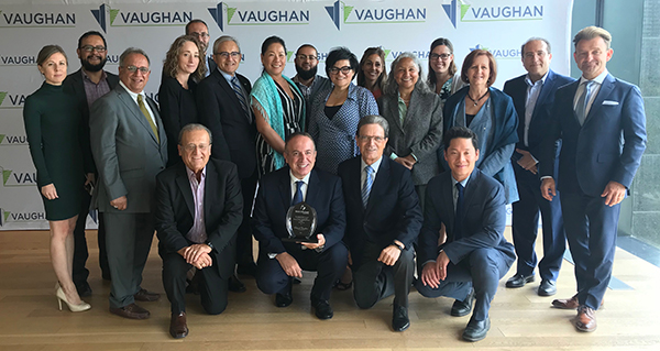 "Mayor Bevilacqua and Members of Council with City staff who received the ""Project of the Year"" award for VMC Mobility Hub."
