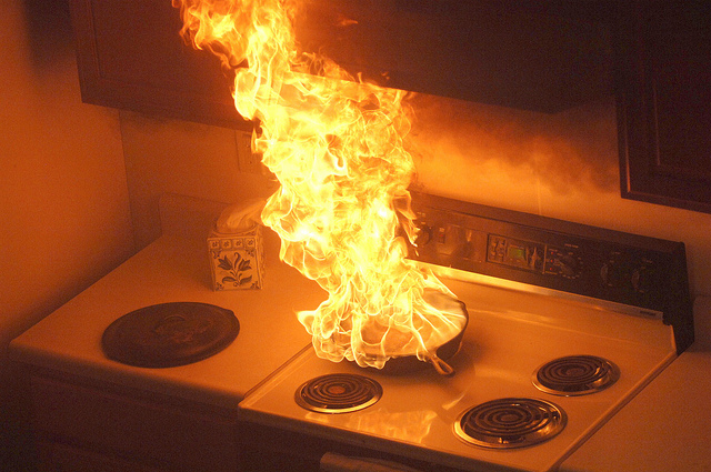 Image of a stovetop fire